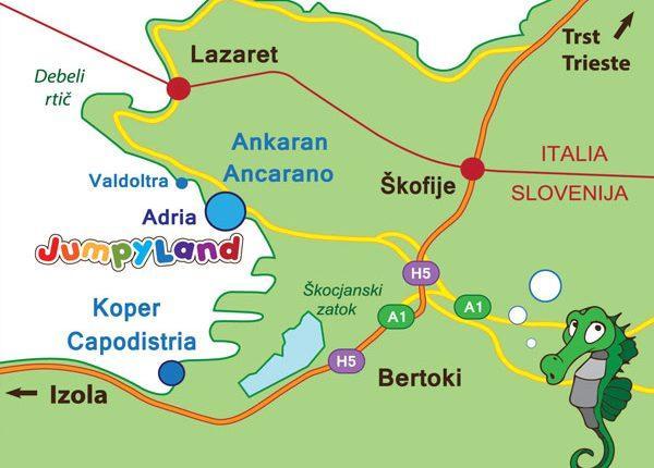 otroški park JumpyLand Adria Ankaran - napihljiva igrala, trampolin, kotiček za najmlajše, rojstni dan, zabava, kje smo - lokacija, obala